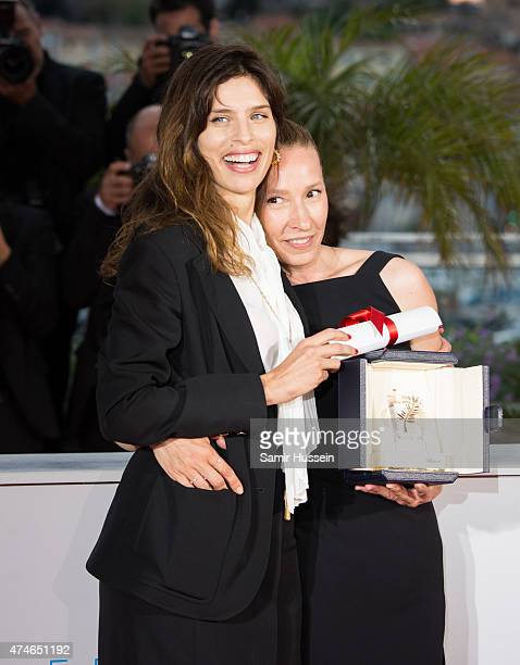 Emmanuelle Bercot Best Performance by an Actress award for her performance in 'Mon Roi' poses with Maiwenn attends a photocall for the winners of the...