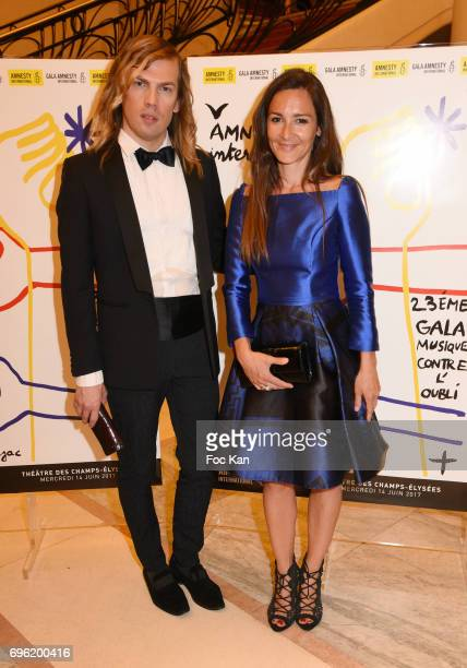Emmanuelle Boidron and Christophe Guillarme attend Amnesty International 'Musique Contre L'Oubli' Gala Ceremony at Theatre des Champs Elysees on...