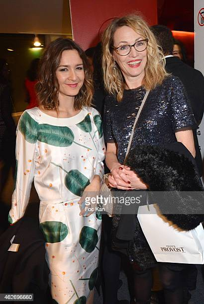 Emmanuelle Boidron and Gabrielle Lazure attend 'Les Lumieres 2015' Arrivals At Espace Pierre Cardin on February 2 2015 in Paris France