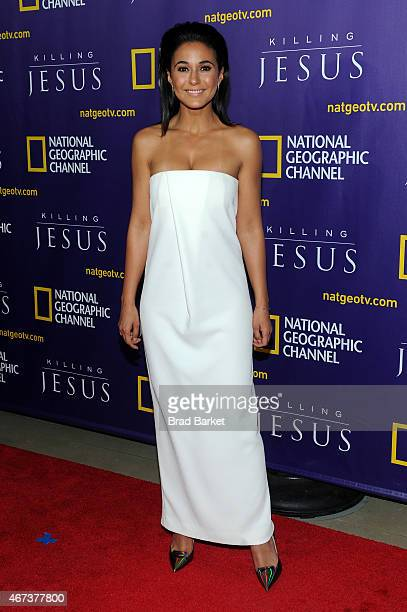 Emmanuelle Chriqui attends the red carpet event and world premiere of National Geographic Channel's 'Killing Jesus' at Alice Tully Hall on March 23...