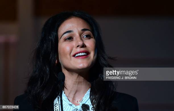 Emmanuelle Chriqui instroduces a panel at the Environmental Media Association Impact Summit in Beverly Hills California on March 23 2017 / AFP PHOTO...
