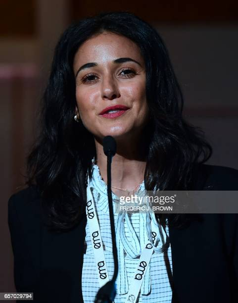 Emmanuelle Chriqui introduces a panel at the Environmental Media Association Impact Summit in Beverly Hills California on March 23 2017 / AFP PHOTO /...