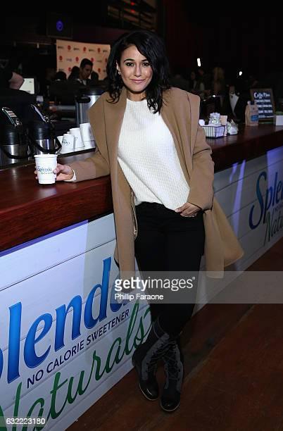 Emmanuelle Chriqui warms up at the SPLENDA® Naturals café on January 20th in Park City Utah