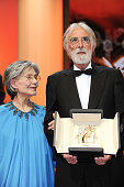 Emmanuelle Riva and Director Michael Haneke who received the Palme D'Or for Amour onstage at the Closing Ceremony during the 65th Annual Cannes Film...