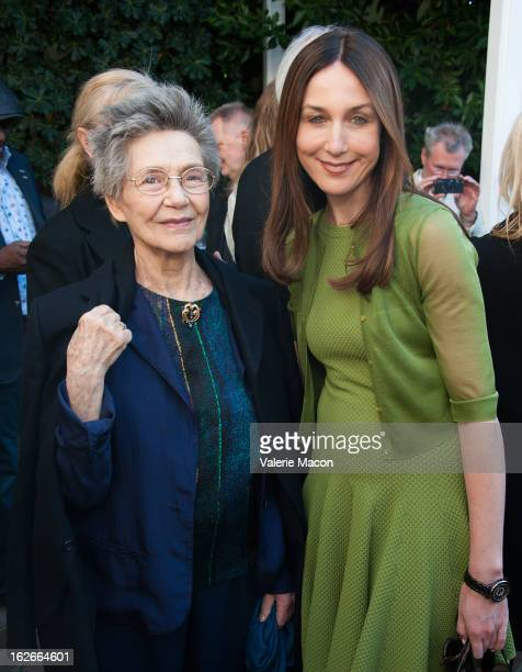 Emmanuelle Riva and Elsa Zylberstein attends The Consul General Of France Mr Axel Cruau reception in Honor of The French Nominees For The 85th Annual...