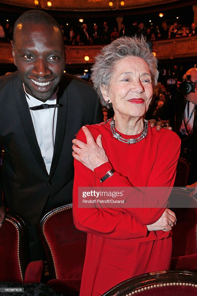Emmanuelle Riva (R) and Omar Sy pose prior to the Cesar Film Awards 2013 at Theatre du Chatelet on February 22, 2013 in Paris, France.