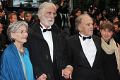 Emmanuelle Riva Michael Haneke and Jean Louis Trintignant at the Closing Ceremony and the premiere for 'Therese Desqueyroux' during the 65th Cannes...