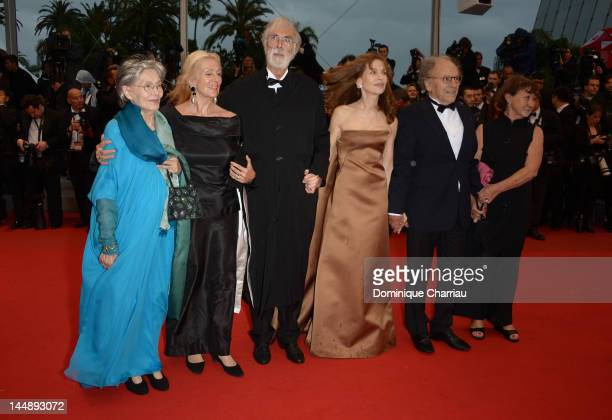 Emmanuelle Riva Susanne Haneke director Michael Haneke Isabelle Huppert JeanLouis Trintignant and guest attend the 'Amour' Premiere during the 65th...