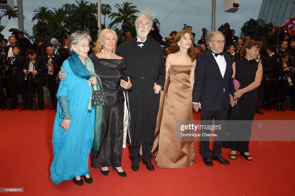 <a gi-track='captionPersonalityLinkClicked' href=/galleries/search?phrase=Emmanuelle+Riva&family=editorial&specificpeople=2029319 ng-click='$event.stopPropagation()'>Emmanuelle Riva</a>, Susanne Haneke, director <a gi-track='captionPersonalityLinkClicked' href=/galleries/search?phrase=Michael+Haneke&family=editorial&specificpeople=233739 ng-click='$event.stopPropagation()'>Michael Haneke</a>, <a gi-track='captionPersonalityLinkClicked' href=/galleries/search?phrase=Isabelle+Huppert&family=editorial&specificpeople=662796 ng-click='$event.stopPropagation()'>Isabelle Huppert</a>, <a gi-track='captionPersonalityLinkClicked' href=/galleries/search?phrase=Jean-Louis+Trintignant&family=editorial&specificpeople=1822183 ng-click='$event.stopPropagation()'>Jean-Louis Trintignant</a> and guest attend the 'Amour' Premiere during the 65th Annual Cannes Film Festival at Palais des Festivals on May 20, 2012 in Cannes, France.