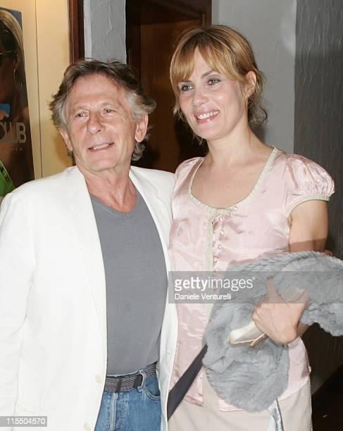 Emmanuelle Seigner and director Roman Polanski during 2005 Venice Film Festival 'Backstage' Premiere Arrivals in Venezia Italy