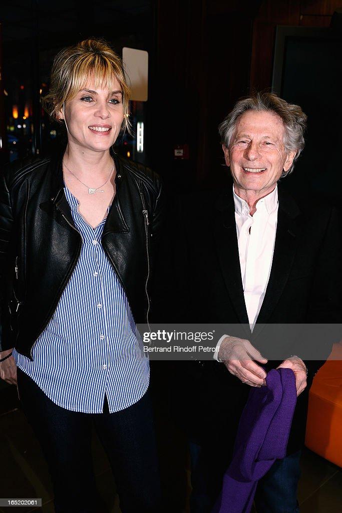 Emmanuelle Seigner and Roman Polanski attend 'Des gens qui s'embrassent' movie premiere at Cinema Gaumont Marignan on April 1, 2013 in Paris, France.