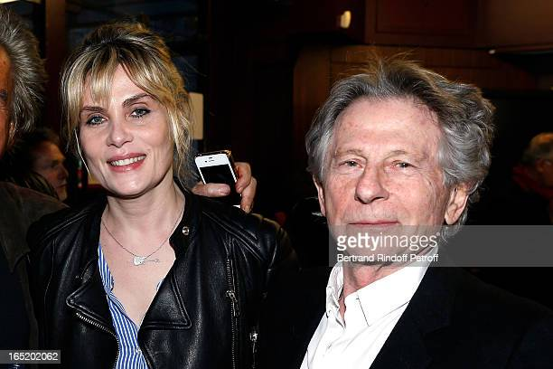 Emmanuelle Seigner and Roman Polanski attend 'Des gens qui s'embrassent' movie premiere at Cinema Gaumont Marignan on April 1 2013 in Paris France