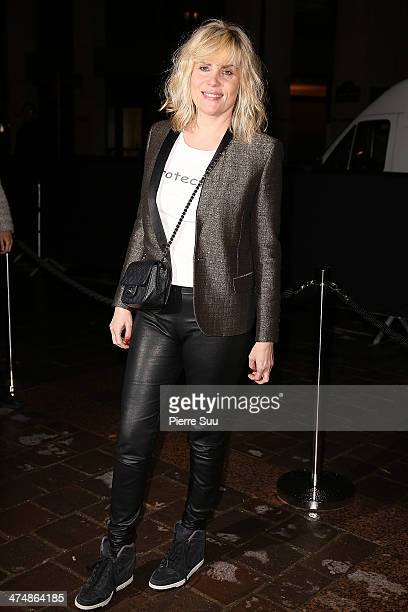 Emmanuelle Seigner attends the ETAM show as part of the Paris Fashion Week Womenswear Fall/Winter 20142015 on February 25 2014 in Paris France