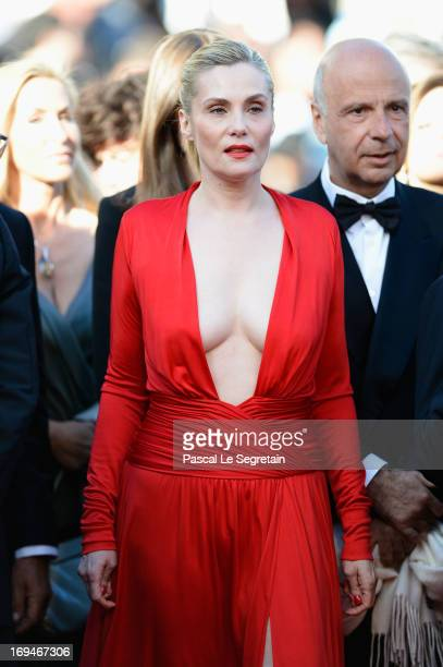 Emmanuelle Seigner attends the 'La Venus A La Fourrure' premiere during The 66th Annual Cannes Film Festival at Theatre Lumiere on May 25 2013 in...