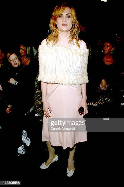 Emmanuelle Seigner during Milan Fashion Week Autumn/Winter 2006 Roberto Cavalli Front Row at Arco della Pace Piazza Semipione in Milan Italy