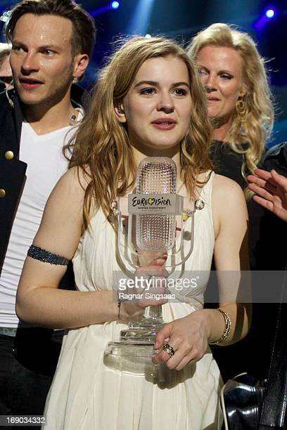 Emmelie de Forest of Denmark performs on stage after winning the Eurovision Song Contest 2013 at Malmo Arena on May 18 2013 in Malmo Sweden