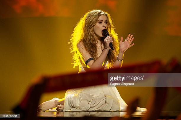 Emmelie de Forest of Denmark performs on stage during the first semi final of Eurovision Song Contest 2013 at Malmo Arena on May 14 2013 in Malmo...