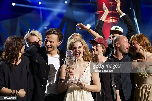 Emmelie de Forest of Denmark wins the Eurovision Song Contest 2013 at Malmo Arena on May 18 2013 in Malmo Sweden