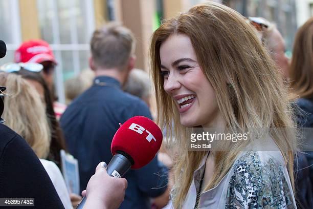 Emmelie de Forest winner of the Eurovision Song Contest 2013 attends Copenhagen Fashion Week on August 6 2014 in Copenhagen Denmark