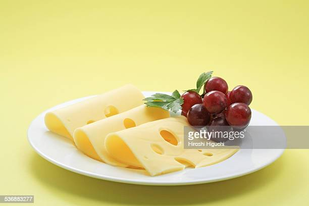 Emmental cheese and grapes