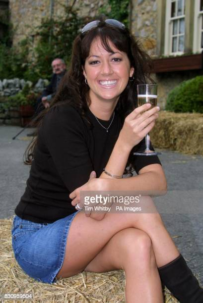Emmerdale actress Sheree Murphy celebrates a glass of champange on the set of Emmerdale near Leeds to mark the 30th anniversary of the soap *29/09/03...