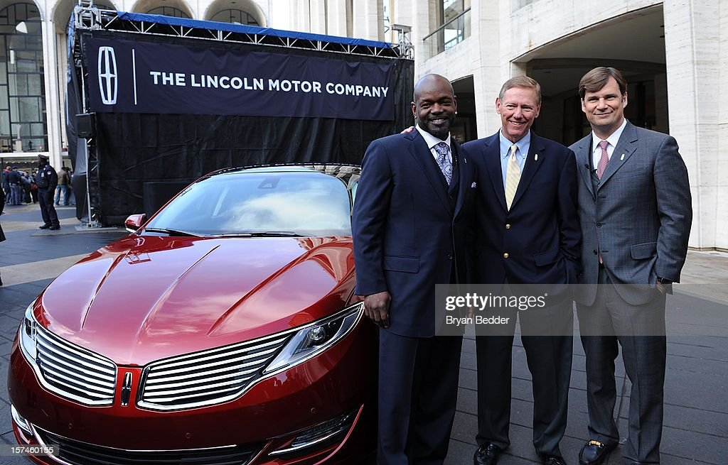 Emmitt Smith Alan Mulally and Jim Farley attend as Ford Unveils New Brand Direction For Lincoln At New York Press Event on December 3 2012 in New...