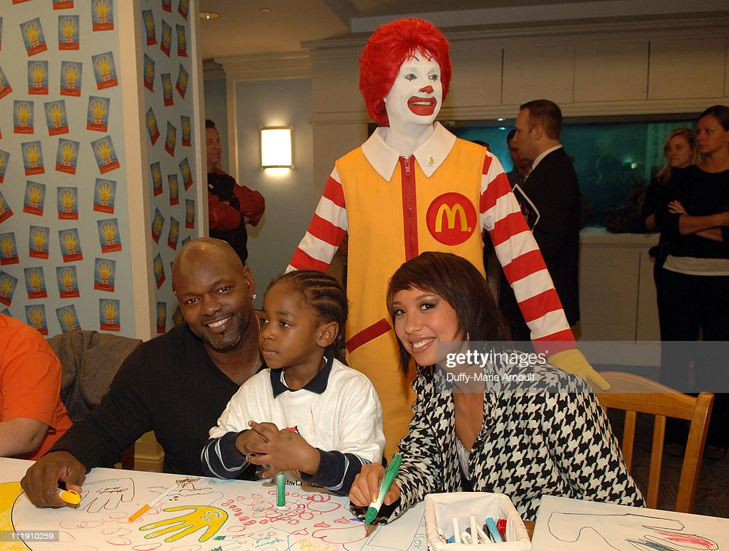 Emmitt Smith and Cheryl Burke during Sarah Ferguson and the Finalists of 'Dancing With the Stars' Visit the Ronald McDonald House to Celebrate World...