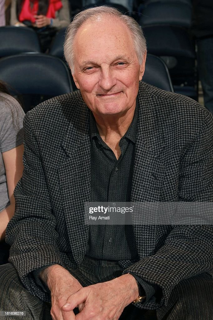 Emmy and Golden Globe winning actor Alan Alda poses for a photo during a game between the New York Knicks and the Toronto Raptors on February 13, 2013 at Madison Square Garden in New York City.