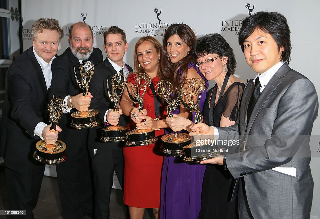 Emmy Award Winners, Arild Halvorsen (Norway), Michael Carrington (UK), Elliot Jenkins (UK), Cecilia Mendonca (Argentina), Maria Laura Moure (Argentina), Kay Benbow (UK), and Hiroki Hayashi (Japan) attend The Inaugural International Emmy Kids Awards at The Lighthouse at Chelsea Piers on February 8, 2013 in New York City.