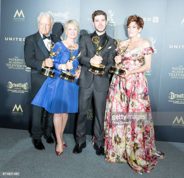Emmy Award Winning Actors Nicolas Coster Mary Beth Evans Kristos Andrews and Carolyn Hennesy display their Emmy Awards at the 44th Annual Daytime...