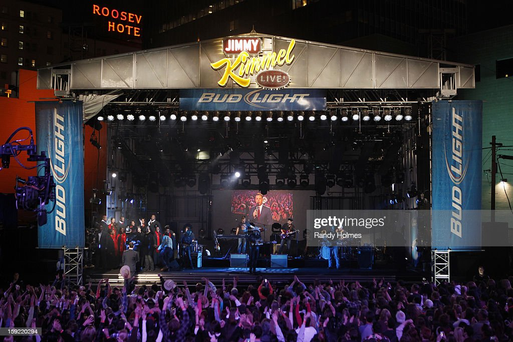 LIVE - Emmy Award-nominated 'Jimmy Kimmel Live' airs every weeknight (11:35 p.m. - 12:41 a.m., ET), packed with hilarious comedy bits and features a diverse lineup of guests including celebrities, athletes, musicians, comedians and humorous human interest subjects. The guests for WEDNESDAY, JANUARY 9 included actor Ryan Gosling ('Gangster Squad'), Will Ferrell and musical guest and panelist Brad Paisley. BRAD