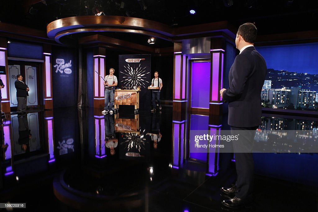 LIVE - Emmy Award-nominated 'Jimmy Kimmel Live' airs every weeknight (11:35 p.m. - 12:41 a.m., ET), packed with hilarious comedy bits and features a diverse lineup of guests including celebrities, athletes, musicians, comedians and humorous human interest subjects. The guests for WEDNESDAY, JANUARY 9 included actor Ryan Gosling ('Gangster Squad'), Will Ferrell and musical guest and panelist Brad Paisley. GUILLERMO
