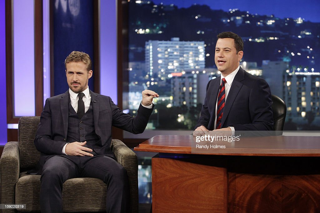 LIVE - Emmy Award-nominated 'Jimmy Kimmel Live' airs every weeknight (11:35 p.m. - 12:41 a.m., ET), packed with hilarious comedy bits and features a diverse lineup of guests including celebrities, athletes, musicians, comedians and humorous human interest subjects. The guests for WEDNESDAY, JANUARY 9 included actor Ryan Gosling ('Gangster Squad'), Will Ferrell and musical guest and panelist Brad Paisley. RYAN