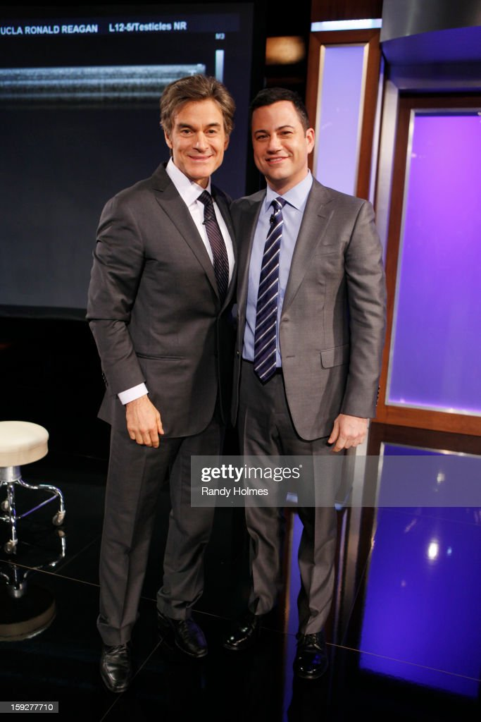 LIVE - Emmy Award-nominated 'Jimmy Kimmel Live' airs every weeknight (11:35 p.m. - 12:41 a.m., ET), packed with hilarious comedy bits and features a diverse lineup of guests including celebrities, athletes, musicians, comedians and humorous human interest subjects. The guests for THURSDAY, JANUARY 10 included Dr. Mehmet Oz ('The Dr. Oz Show'), LA Clippers Chris Paul and Blake Griffin and musical guest Bruno Mars. (Photo by Randy Holmes / ABC via Getty Images)) DR. MEHMET