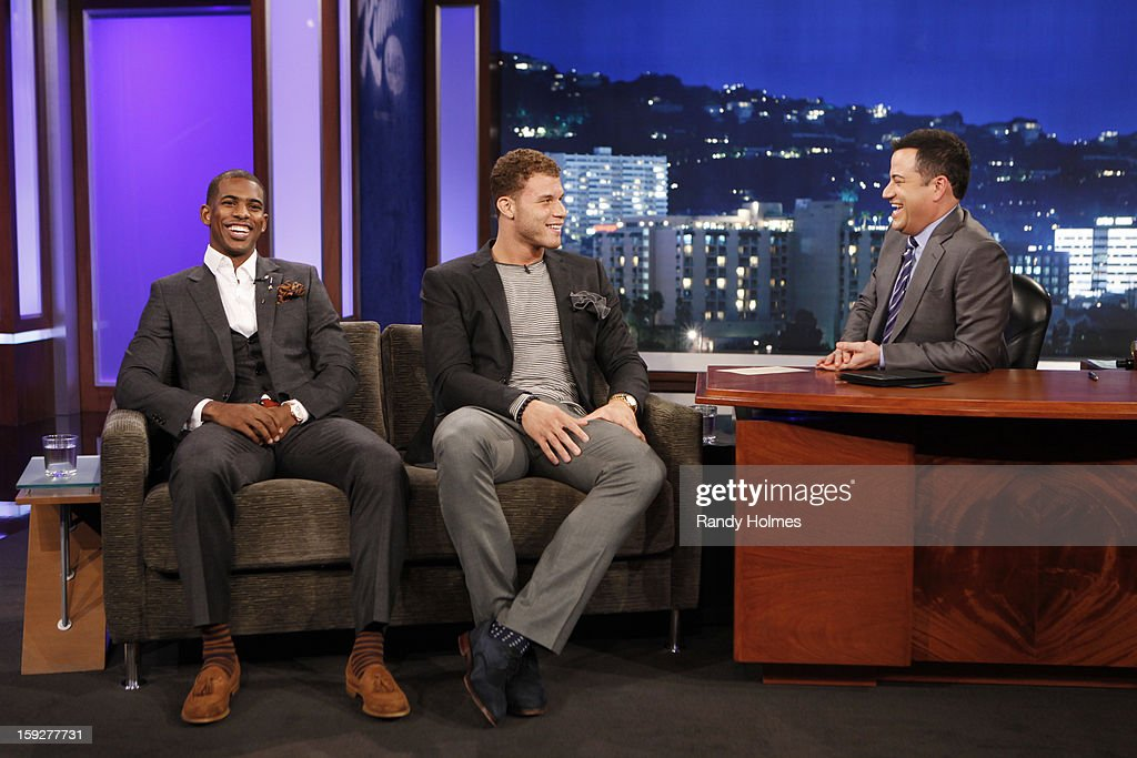 LIVE - Emmy Award-nominated 'Jimmy Kimmel Live' airs every weeknight (11:35 p.m. - 12:41 a.m., ET), packed with hilarious comedy bits and features a diverse lineup of guests including celebrities, athletes, musicians, comedians and humorous human interest subjects. The guests for THURSDAY, JANUARY 10 included Dr. Mehmet Oz ('The Dr. Oz Show'), LA Clippers Chris Paul and Blake Griffin and musical guest Bruno Mars. (Photo by Randy Holmes / ABC via Getty Images)) CHRIS
