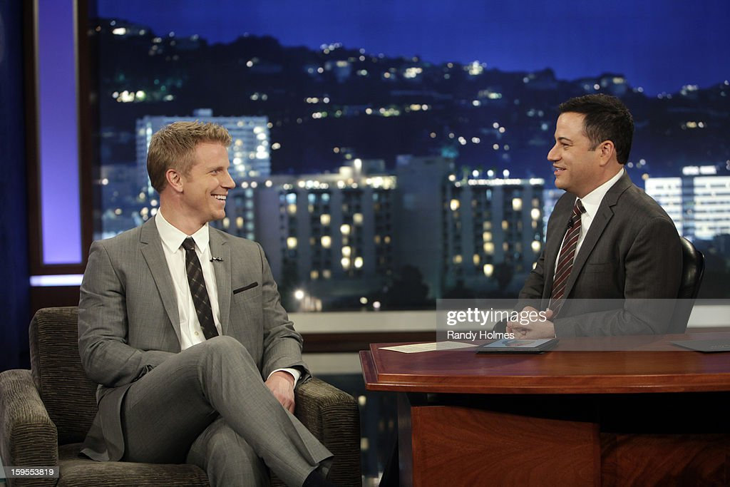 LIVE - Emmy(r) Award-nominated 'Jimmy Kimmel Live' airs every weeknight (11:35 p.m. - 12:41 a.m., ET), packed with hilarious comedy bits and features a diverse lineup of guests including celebrities, athletes, musicians, comedians and humorous human interest subjects. The guests for MONDAY, JANUARY 14 included Ellen DeGeneres, Sean Lowe ('The Bachelor') and musical guest One Republic. (Photo by Randy Holmes / ABC via Getty Images)) SEAN