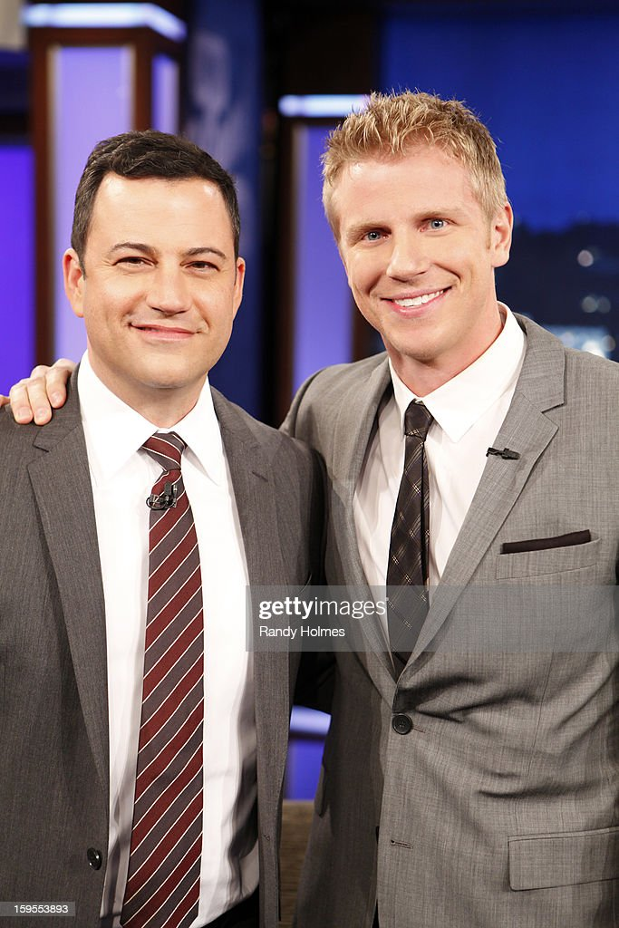LIVE - Emmy(r) Award-nominated 'Jimmy Kimmel Live' airs every weeknight (11:35 p.m. - 12:41 a.m., ET), packed with hilarious comedy bits and features a diverse lineup of guests including celebrities, athletes, musicians, comedians and humorous human interest subjects. The guests for MONDAY, JANUARY 14 included Ellen DeGeneres, Sean Lowe ('The Bachelor') and musical guest One Republic. (Photo by Randy Holmes / ABC via Getty Images)) JIMMY