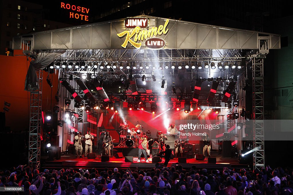 LIVE - Emmy(r) Award-nominated 'Jimmy Kimmel Live' airs every weeknight (11:35 p.m. - 12:41 a.m., ET), packed with hilarious comedy bits and features a diverse lineup of guests including celebrities, athletes, musicians, comedians and humorous human interest subjects. The guests for TUESDAY, JANUARY 15 included actor Rob Lowe ('Prosecuting Casey Anthony'), professional baseball player Bryce Harper (The Washington Nationals) and musical guest BigBoi with Phantogram. BIG