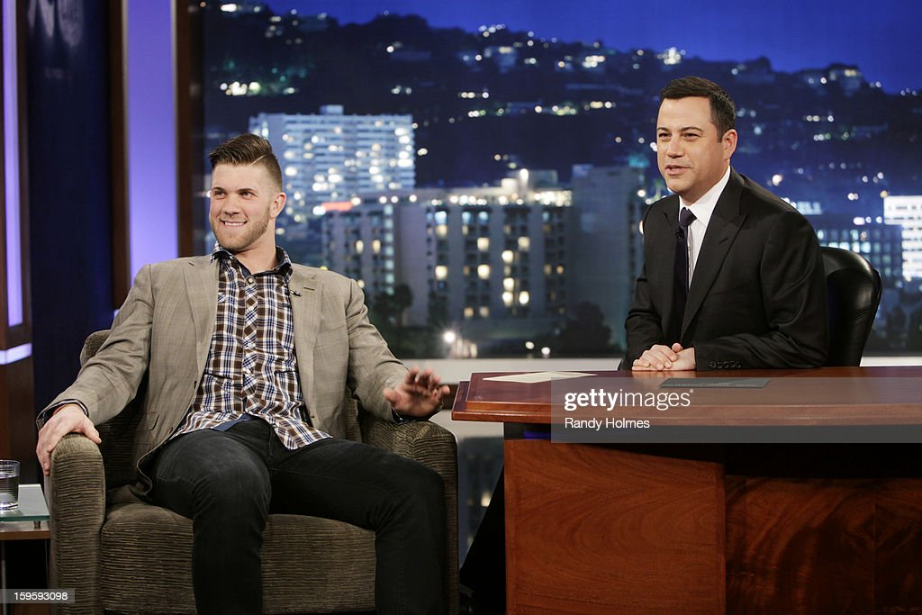 LIVE - Emmy(r) Award-nominated 'Jimmy Kimmel Live' airs every weeknight (11:35 p.m. - 12:41 a.m., ET), packed with hilarious comedy bits and features a diverse lineup of guests including celebrities, athletes, musicians, comedians and humorous human interest subjects. The guests for TUESDAY, JANUARY 15 included actor Rob Lowe ('Prosecuting Casey Anthony'), professional baseball player Bryce Harper (The Washington Nationals) and musical guest BigBoi with Phantogram. BRYCE