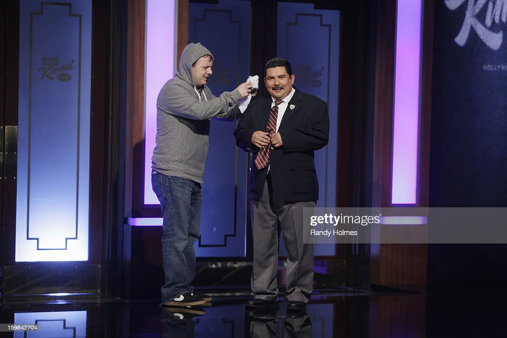 LIVE - Emmy Award-nominated 'Jimmy Kimmel Live' airs every weeknight (11:35 p.m. - 12:41 a.m., ET), packed with hilarious comedy bits and features a diverse lineup of guests including celebrities, athletes, musicians, comedians and humorous human interest subjects. The guests for WEDNESDAY, JANUARY 16 included actor Ray Romano (Madison Garden Foundation event with Wanda Sykes Saturday, January 26th), actress Amy Brenneman ('Private Practice') and musical guest Phillip Phillips. (Photo by Randy Holmes / ABC via Getty Images)) COUSIN