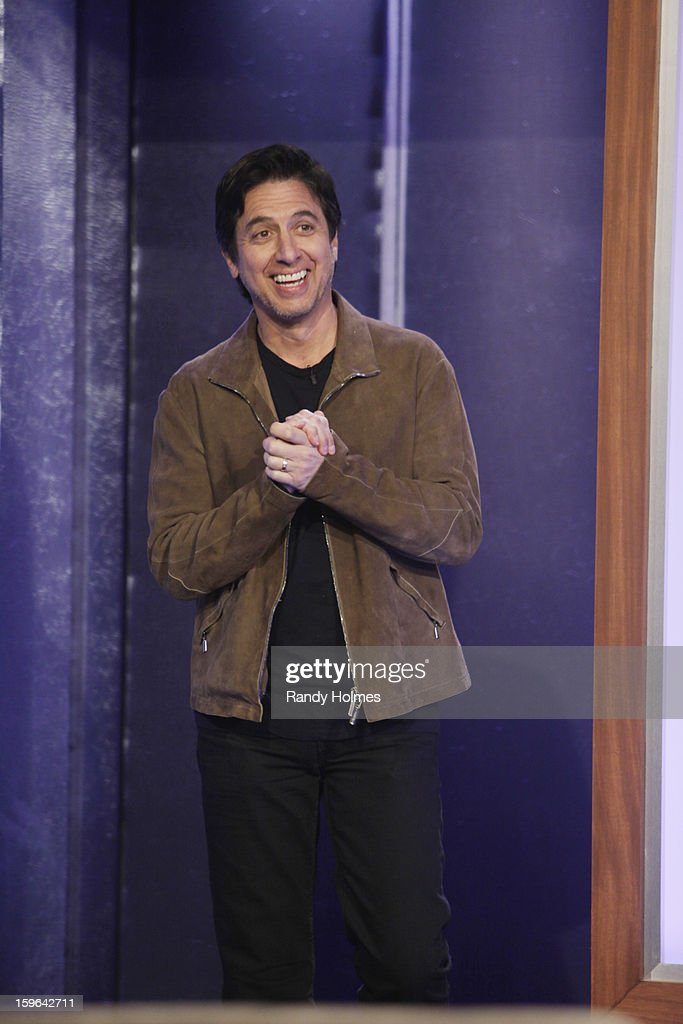 LIVE - Emmy Award-nominated 'Jimmy Kimmel Live' airs every weeknight (11:35 p.m. - 12:41 a.m., ET), packed with hilarious comedy bits and features a diverse lineup of guests including celebrities, athletes, musicians, comedians and humorous human interest subjects. The guests for WEDNESDAY, JANUARY 16 included actor Ray Romano (Madison Garden Foundation event with Wanda Sykes Saturday, January 26th), actress Amy Brenneman ('Private Practice') and musical guest Phillip Phillips. (Photo by Randy Holmes / ABC via Getty Images)) RAY