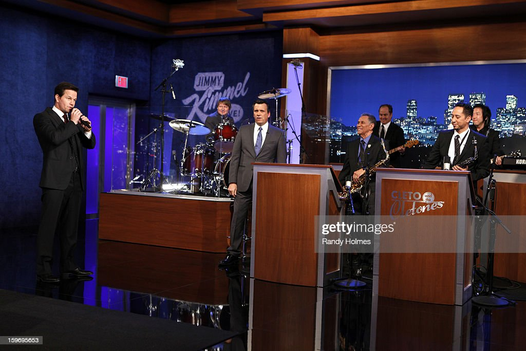 LIVE - Emmy Award-nominated 'Jimmy Kimmel Live' airs every weeknight (11:35 p.m. - 12:41 a.m., ET), packed with hilarious comedy bits and features a diverse lineup of guests including celebrities, athletes, musicians, comedians and humorous human interest subjects. The guests for THURSDAY, JANUARY 17 included actor Mark Wahlberg ('Broken City'), actress Jennifer Lopez ('Parker') and Science Bob Pflugfelder. CLETONES