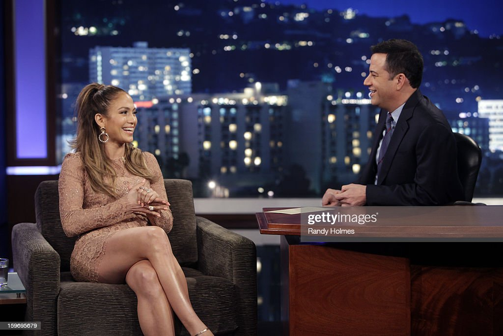 LIVE - Emmy Award-nominated 'Jimmy Kimmel Live' airs every weeknight (11:35 p.m. - 12:41 a.m., ET), packed with hilarious comedy bits and features a diverse lineup of guests including celebrities, athletes, musicians, comedians and humorous human interest subjects. The guests for THURSDAY, JANUARY 17 included actor Mark Wahlberg ('Broken City'), actress Jennifer Lopez ('Parker') and Science Bob Pflugfelder. JENNIFER