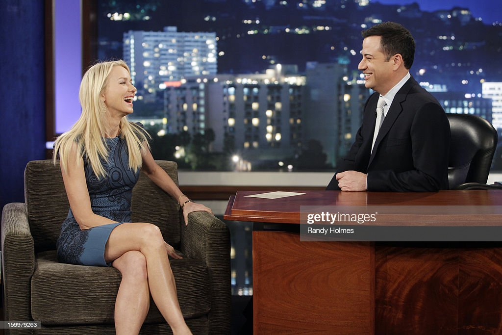 LIVE - Emmy Award-nominated 'Jimmy Kimmel Live' airs every weeknight (11:35 p.m. - 12:41 a.m., ET), packed with hilarious comedy bits and features a diverse lineup of guests including celebrities, athletes, musicians, comedians and humorous human interest subjects. The guests for WEDNESDAY, JANUARY 23 included actress Naomi Watts ('The Impossible'), actress Allison Williams ('Girls') and musical guest Gin Wigmore. NAOMI