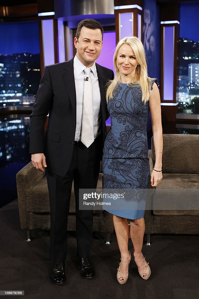 LIVE - Emmy Award-nominated 'Jimmy Kimmel Live' airs every weeknight (11:35 p.m. - 12:41 a.m., ET), packed with hilarious comedy bits and features a diverse lineup of guests including celebrities, athletes, musicians, comedians and humorous human interest subjects. The guests for WEDNESDAY, JANUARY 23 included actress Naomi Watts ('The Impossible'), actress Allison Williams ('Girls') and musical guest Gin Wigmore. JIMMY