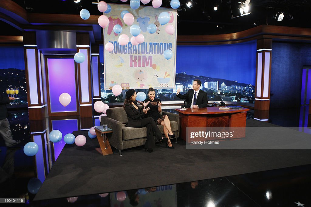 LIVE - Emmy Award-nominated 'Jimmy Kimmel Live' airs every weeknight (11:35 p.m. - 12:41 a.m., ET), packed with hilarious comedy bits and features a diverse lineup of guests including celebrities, athletes, musicians, comedians and humorous human interest subjects. The guests for TUESDAY, JANUARY 29 included Kim & Kourtney Kardashian ('Kourtney & Kim Take Miami'), actor Adam Driver ('Girls') and musical guest Halestorm. KOURTNEY