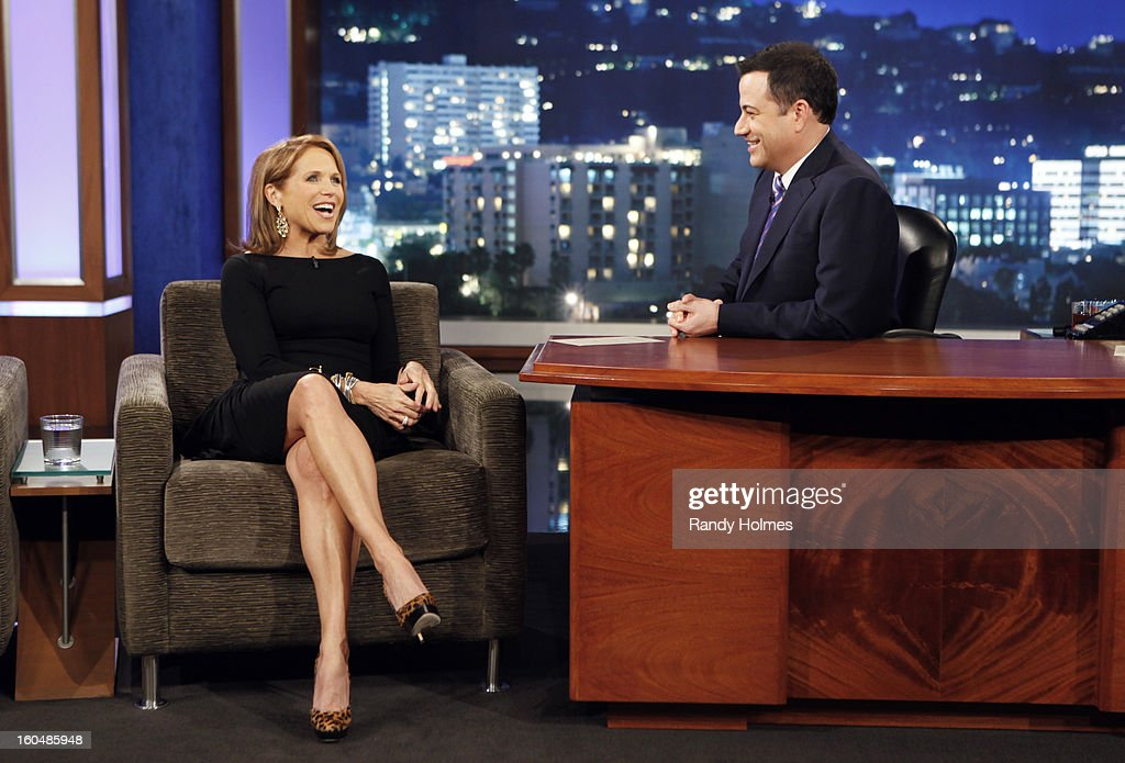 LIVE - Emmy Award-nominated 'Jimmy Kimmel Live' airs every weeknight (11:35 p.m. - 12:41 a.m., ET), packed with hilarious comedy bits and features a diverse lineup of guests including celebrities, athletes, musicians, comedians and humorous human interest subjects. The guests for THURSDAY, JANUARY 31 included actress Jennifer Lawrence (Silver Linings Playbook), TV Host Katie Couric (Katie) and musical guest Tegan and Sara. KATIE