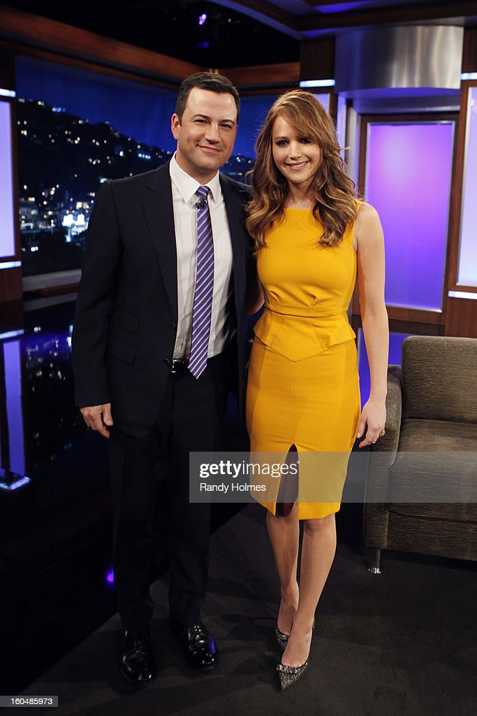 LIVE - Emmy Award-nominated 'Jimmy Kimmel Live' airs every weeknight (11:35 p.m. - 12:41 a.m., ET), packed with hilarious comedy bits and features a diverse lineup of guests including celebrities, athletes, musicians, comedians and humorous human interest subjects. The guests for THURSDAY, JANUARY 31 included actress Jennifer Lawrence (Silver Linings Playbook), TV Host Katie Couric (Katie) and musical guest Tegan and Sara. JIMMY