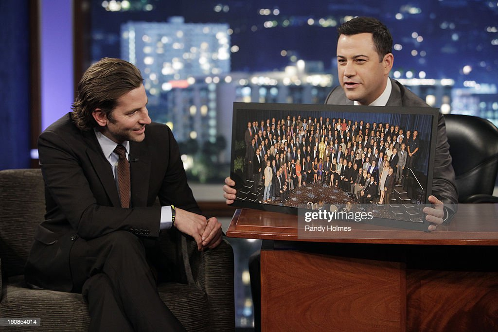 LIVE - Emmy Award-nominated 'Jimmy Kimmel Live' airs every weeknight (11:35 p.m. - 12:41 a.m., ET), packed with hilarious comedy bits and features a diverse lineup of guests including celebrities, athletes, musicians, comedians and humorous human interest subjects. The guests for TUESDAY, FEBRUARY 5 included actor Bradley Cooper ('Silver Linings Playbook'), actress Kate Mara ('House of Cards') and musical guest Emeli Sande. BRADLEY