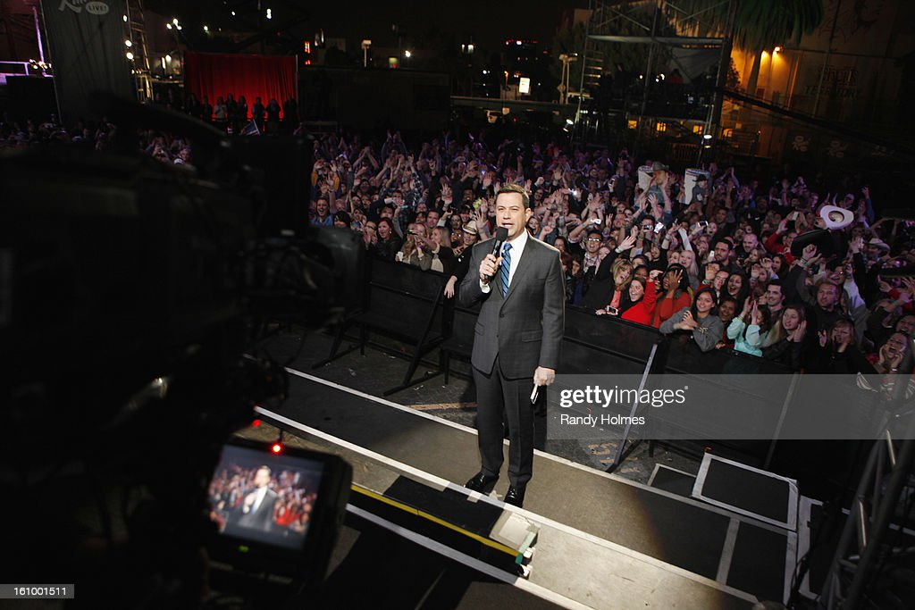 LIVE - Emmy Award-nominated 'Jimmy Kimmel Live' airs every weeknight (11:35 p.m. - 12:41 a.m., ET), packed with hilarious comedy bits and features a diverse lineup of guests including celebrities, athletes, musicians, comedians and humorous human interest subjects. The guests for THURSDAY, FEBRUARY 7 included Dr. Phil McGraw ('Dr. Phil'), Jacoby Jones from the Super Bowl Champion Baltimore Ravens and musical guest Tim McGraw. JIMMY